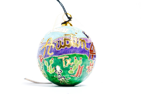 Austin, TX Icons and Landscape Cloisonné Christmas Ornament - Kitty Keller Designs
