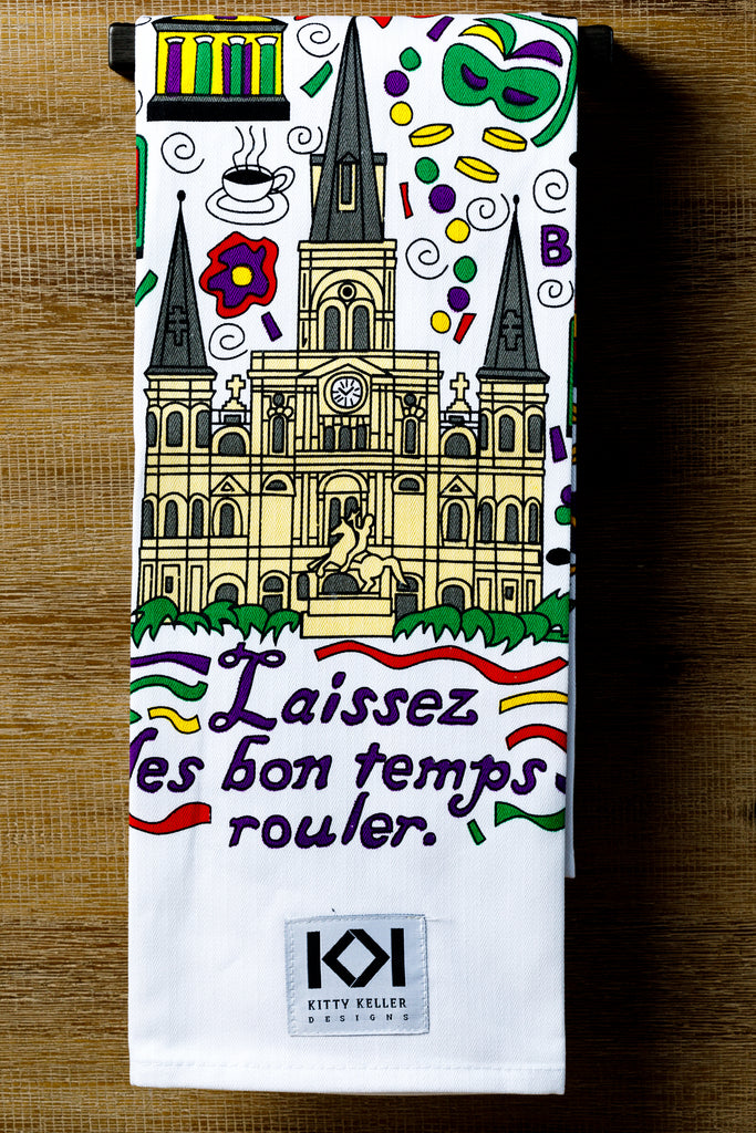 Laissez les bon temps rouler 100% Cotton Tea Towel - Kitty Keller Designs