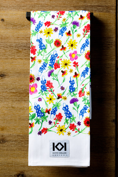 Wild About Wildflowers 100% Cotton Tea Towel - Kitty Keller Designs
