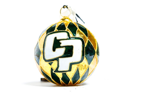 Cal Poly State University Harlequin Cloisonné Christmas Ornament - Kitty Keller Designs