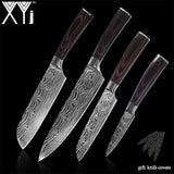 XYj 8 inch Utility Chef Stainless Steel Knives Imitation Damascus steel Santoku kitchen Knives Cleaver Slicing Knives Gift Knife