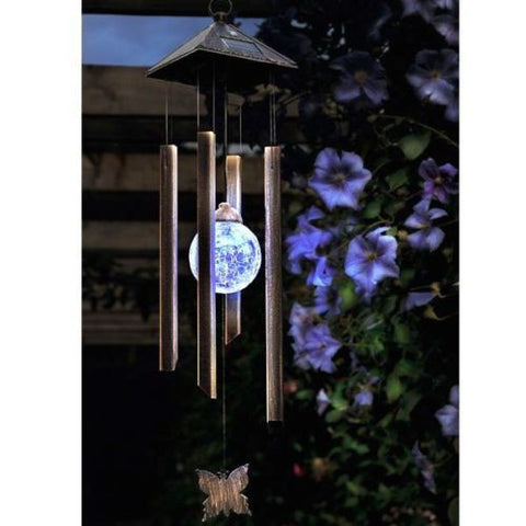 Solar Powered Colour Changing LED Windchime Outdoor Garden Wind Chime  garden chandelier hanging lamp