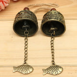 Metal Small Wind Chimes Cool Vintage Dragon Fish Pattern Car Door Bed Hanging Bell Pendant Home Garden Chinese Style Decoration
