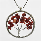 Life of Tree Chains Necklaces Colorful Chakra Stone Beads Natural Citrine Amethyst Agate Pendant Necklace