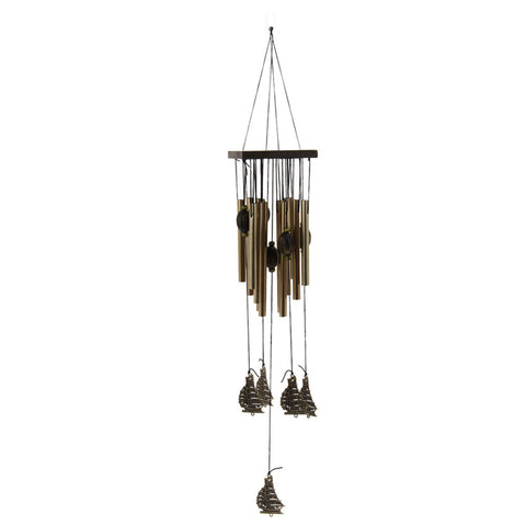 12 Tube Fengshui Sailboat Windchime Bell Outdoor Yard Garden Living Room Metal Hanging Decorative Wind Chimes