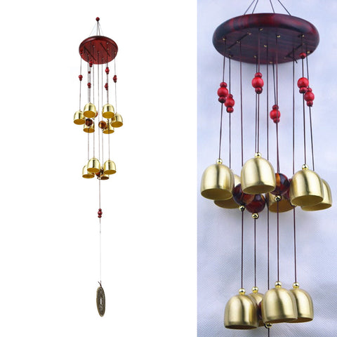 10 Bells Bronze Yard Garden Outdoor Living Wind Chimes 65cm Campanula Mascot Aluminum And Wood About 75cm