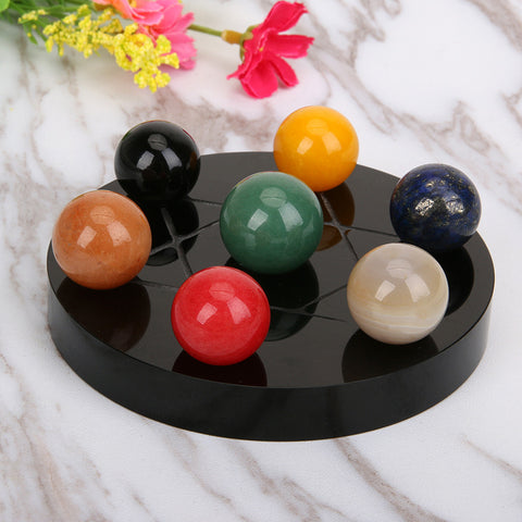 Natural Healing 7 Chakra Ball Tumbled Chakra Stones Quartz Crystals Carved Fengshui Seven-star Appetizer Plate Crystal Ball