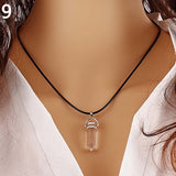 Natural Quartz Hexagonal Reiki Chakra Healing Pointed Charm Pendant Necklace