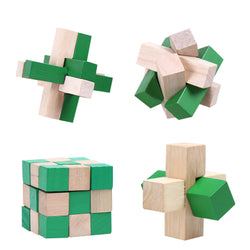 4pcs Wooden Kongming Lock IQ Brain Teaser 3D Wooden Interlocking Puzzle