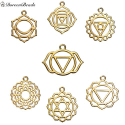 "Alloy Chakra Pendants Flower Mixed Hollow 31mm(1 2/8"") x 28mm(1 1/8"") - 29mm x23mm(1 1/8"" x 7/8""), 7 PCs"