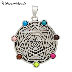 "Alloy & Acrylic Chakra Pendants Round Antiqe Silver Color Multicolor Pentagram Star 77mm(3"") x 62mm(2 4/8""), 2 PCs"
