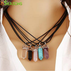 Multi Color Quartz Chakra Necklaces Pendant Necklace Chain Crystal Necklace Women Jewelry Accessories