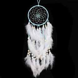 Best Seller  Indian Style  Dream Catcher Circular Blue Feathers Wall Hanging Decoration Decor Gift