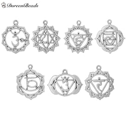 "Chakra Pendants Mixed Hollow 3.7cm x 3.3cm(1 4/8"" x1 2/8"") - 3.2cm x 2.6cm(1 2/8"" x1""), 7 PCs/Set"