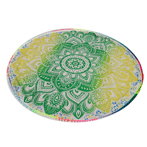 Soft Round Beach Towels Floral Printed Blanket Yoga Mat Tippet Women Sunbath Quick-Dry Swimming Bath Towel