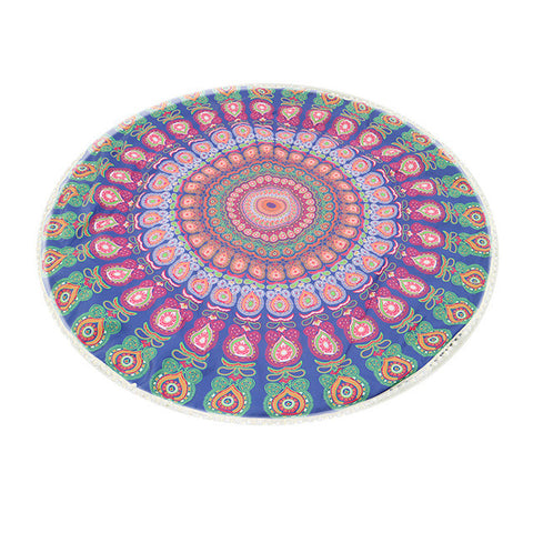 146cm Summer Round Beach Towels Retro Floral Printed Towel Yoga Mat Holiday Sunscreen Shawl Women Swimming Bath Towel