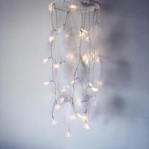 LED Star Light Dreamcatcher with White Feather Pearl Dream Catcher Wall Hanging Home Party Decoration Gift 20*20*65cm 45