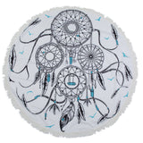 Circle Feathers Round Mandala Beach Towel Tassel Fringing Beach Throw Round Mat Table Cloth Wall Tapestries Polyester 150x150cm