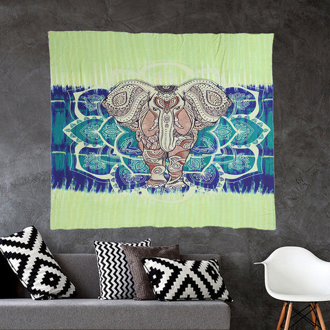 Indian Elephant Mandala Tapestry Throw Hippie Tablecloth Hanging Printed Decorative 203X153Cm