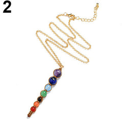 7 Chakra Beads Pendant Women Yoga Reiki Healing Balancing Choker Chain Necklace