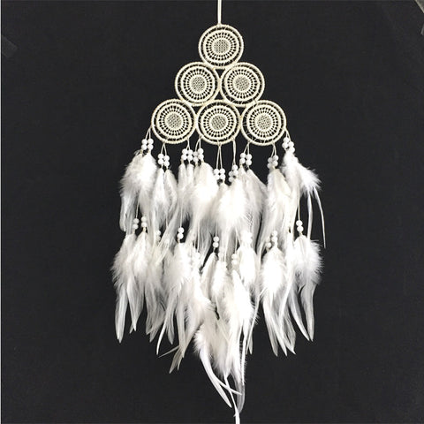 White Dreamcatcher Wind Chimes Indian Style Feather Pendant