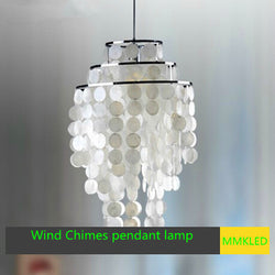 Natural shell dining pendant lamp bedroom Hanging lamp, Wind Chimes pendant light