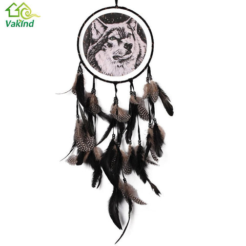 Indian Style Dreamcatcher Black Feathers Wolf Dream Catcher Feather Bead