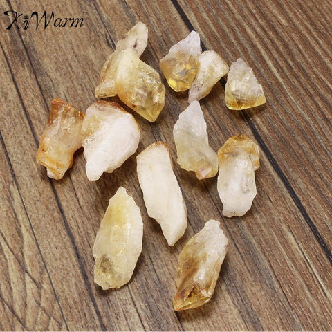 12pcs Practical Citrine Stone Yellow Quartz Crystal Rough Points Bulk Gemstone Healing Mineral DIY Material 15mm-30mm