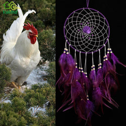 Purple Handmade Dreamcatcher Rose Dream Catcher Feather Bead Hanging Decoration Ornament