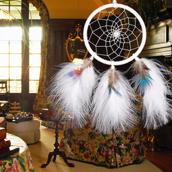 Handmade White Feathers Dream Catcher