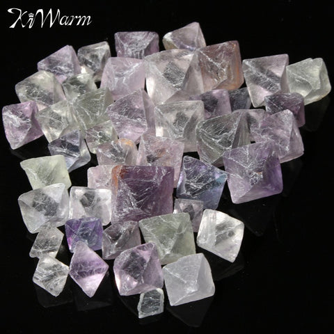 KiWarm Best Price 50g Crystal Specimens Fluorite Octahedron Stones Healing Crystal Gemstones Decor 8mm-18mm