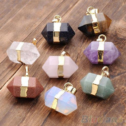 Hexagon Crystal Quartz Healing Point Reiki Chakra Pendants For Necklace