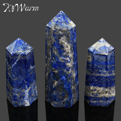 Lapis Lazuli Quartz Crystal Single Point Wand Healing Stone Crystal DIY Crafts Ornaments- 5-7pcs 230g