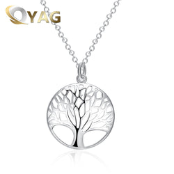 Tree Of Life Chakra Pendant Necklace For Woman Luxury Jewelry Statement Female Necklace Sliver Color Women Christmas Gift