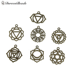 "Alloy Chakra Pendants Fixed Antique Bronze Hollow 31mm x28mm(1 2/8"" x1 1/8"") - 29mm x23mm(1 1/8"" x 7/8""), 21 PCs"