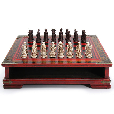 Chess Set Vintage Collectibles Gift Entertainment Board Game 32Pcs/Set Resin Chinese