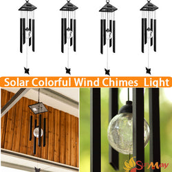 Night Solar LED Wind Chimes Glass Multicolors Pendant Bell Yard Garden Wind Chimes Lamp Accessories Feng Shui Home Decor