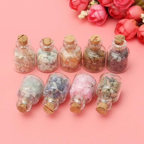 9Pcs/Box Assorted Mini Gemstone Bottles Wood stopper Wishing Bottle Crystal Healing Tumbled Gem Stones Home Decor