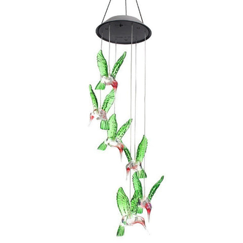 Solar Color-Changing Wind Chime Light Led Solar Light Outdoor Hummingbird Wind Chimes Home Garden Decor Solar Light