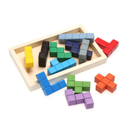 Wooden Tetris Game Board Tangram Jiasaw Fun Puzzle Toy Educational Developmental Jigsaw Puzzle Gaming Toy