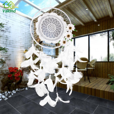 White Lace Flower Dreamcatcher Wind Chimes Indian Style Feather Pendant Dream Catcher