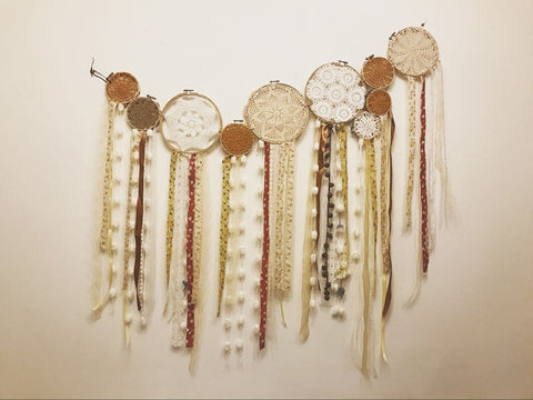 Shabby Chic Living Room Hanging Decorated Dream Catcher Set Dolly Knitted Yarns