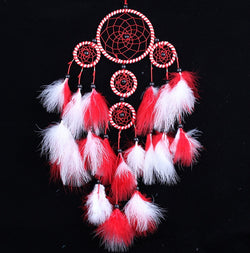 Beautiful Dream Catcher Hand-Woven Dreamcatcher with Red White Feathers for Home Wall Decorations