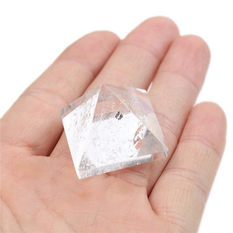 Modern Natural Pyramid 15/25/50mm White Clear Crystal Gemstone Healing Orgone Feng Shui Charging for Home Craft Decor Gift