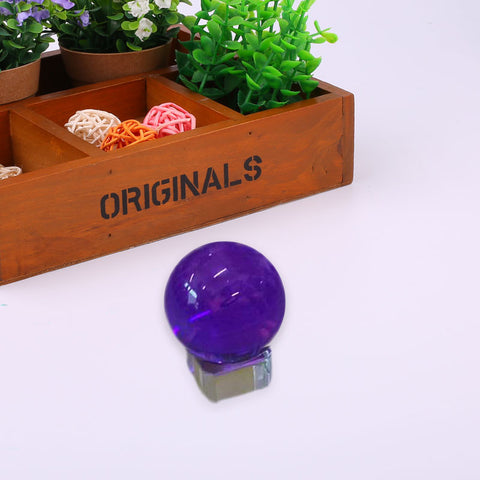 Glass Purple K9 Transparent Magic Crystal Amethyst Healing Ball W/Base Gifts