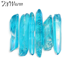 Blue Quartz Crystal Point Degaussing Healing Crystal Pendant DIY Crafts Making Ornaments Home Decor Gifts