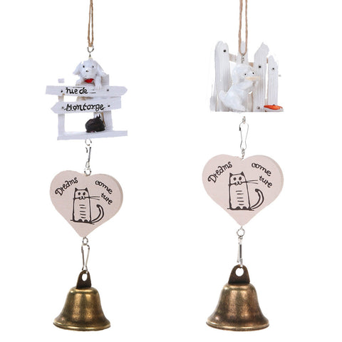 Resin Dog Puppy Wind Chimes Home Decoration Hanging Ornaments Iron Bell Wind Chimes Craft Student Gift Style Random Sent