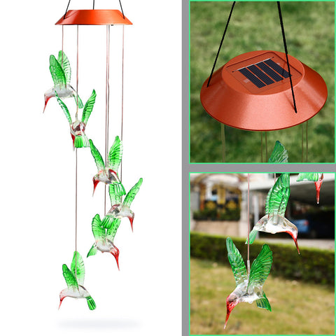 Outdoor Hummingbird Wind Chimes Home Garden Decor Solar Light Solar Color-Changing Wind Chime Light Led Solar Light