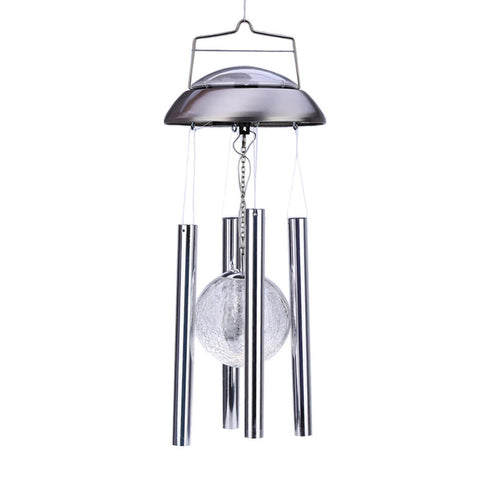 Solar Crackle Glass Color Changing Wind Chime Porch Lights Solar Lamps