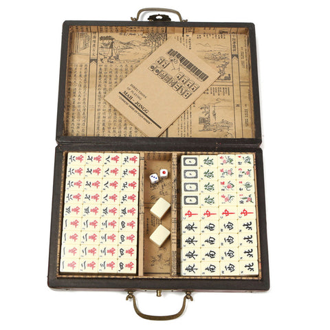 Portable Retro Mahjong Box Rare Chinese 144 Mah-Jong Set Bamboo Piece With Box For Board Game Player